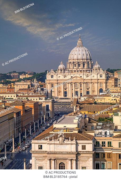 Aerial view of Saint Peter Basilica at the Vatican, Rome, Lazio, Italy