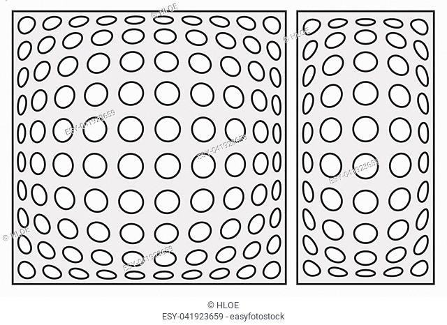 Template for cutting. Geometric circle pattern. Laser cut. Set ratio 1:2, 1:1. Vector illustration