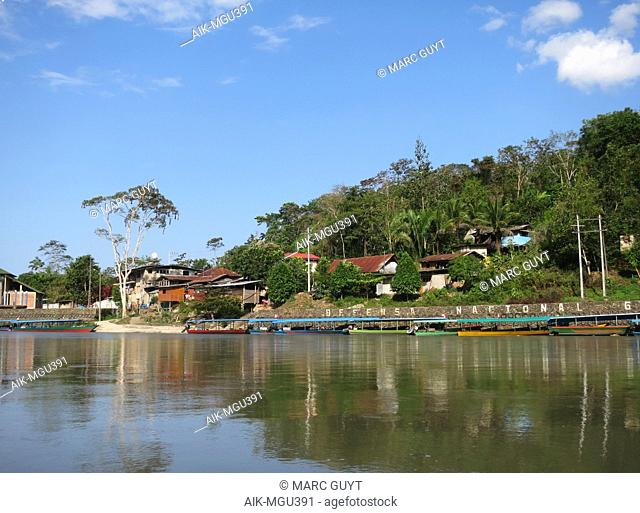 Amazonian town Atalaya near Manu national Park, Lower Amazon rainforest in Madre de Dios department in Peru. Many longboats along the shore