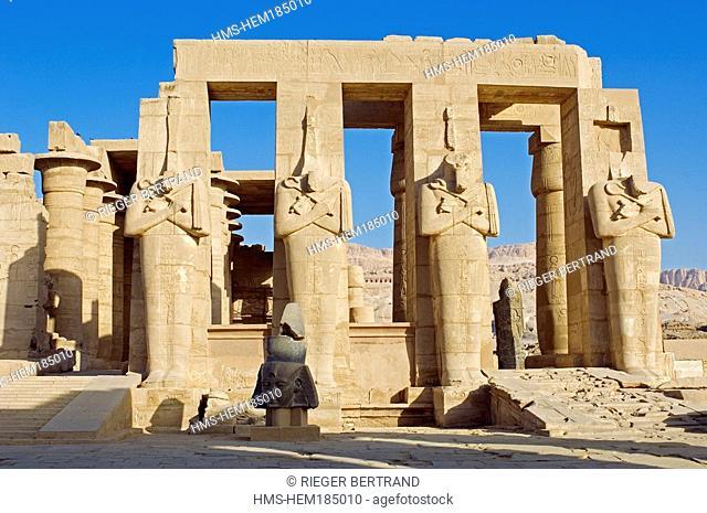Egypt, Nile Valley, Luxor, Western bank, Thebes Necropolis, Ramesseum, Osiris Pillars
