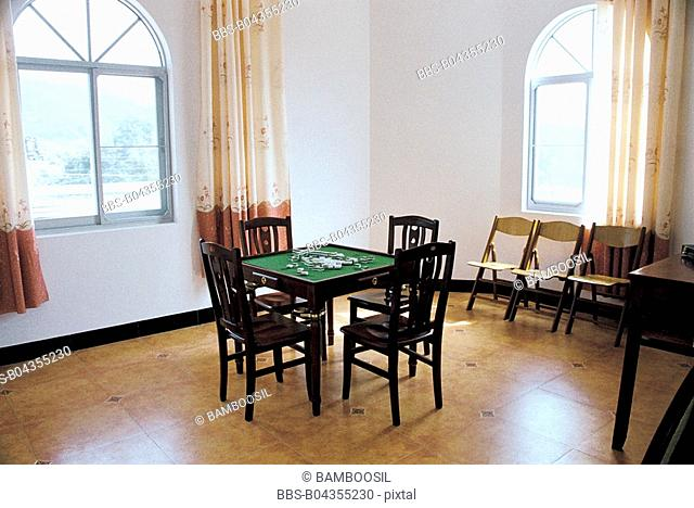 Mah-jong table in private residence of Baiyun Village, Minqing County, Fuzhou City, Fujian Province, People's Republic of China
