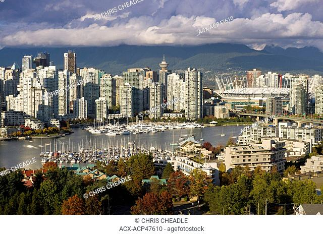 Cambie Bridge, city skyline with new retractable roof on BC Place Stadium, False Creek, Vancouver, British Columbia, Canada