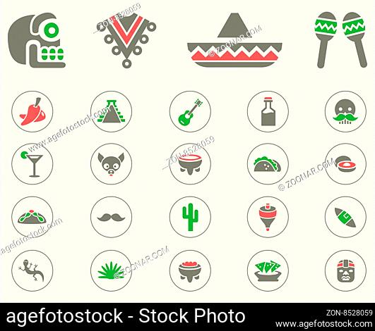Mexican icon set. Vector Illustration, EPS 10