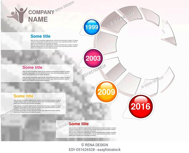 Vector timeline. Infographic template for company. Timeline with colorful milestones - blue, magenta, orange, red. Graphic design with arrow and background of...