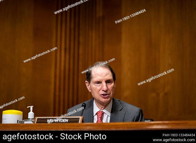 United States Senator Ron Wyden (Democrat of Oregon), Ranking Member, US Senate Committee on Finance, speaks during a US Senate Finance Committee hearing about...