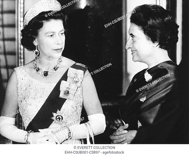 Queen Elizabeth with Indian Prime Minister Indira Gandhi at Buckingham Palace. They were attending a reception for Commonwealth Prime Ministers