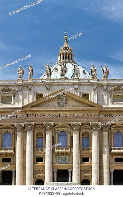Architecture and buildings of St  Peters Basilica at the Vatican in Rome, Italy
