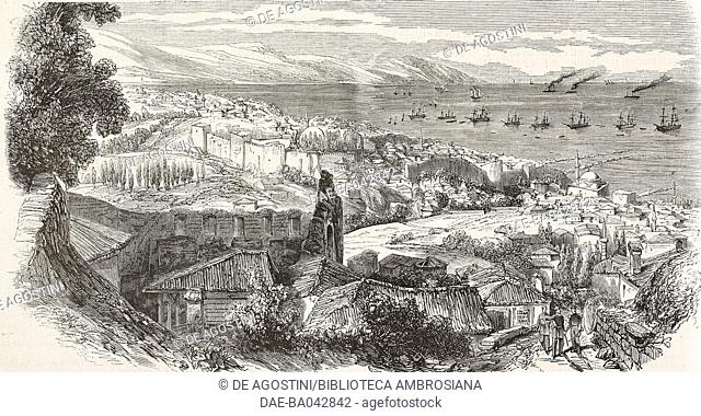 View of Trabzon, Turkey, from a drawing by Colombari, illustration from L'Illustration, Journal Universel, No 578, Volume XXIII, March 25, 1854