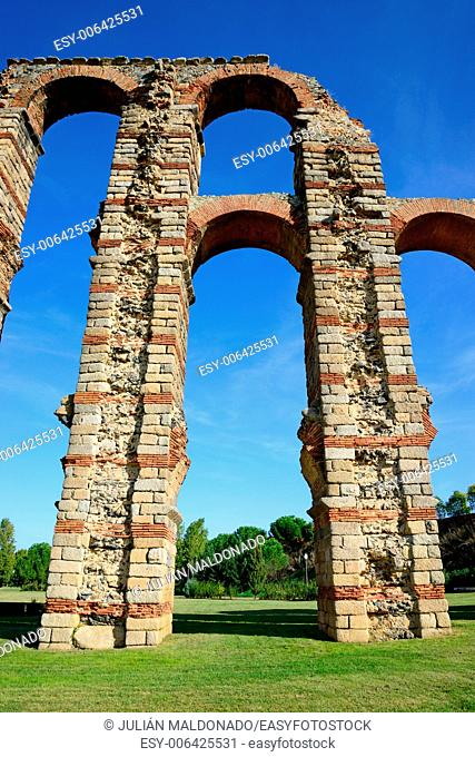 . Los Milagros aqueduct in Merida, Spain