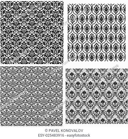 Set of 4 Damask Seamless Patterns design
