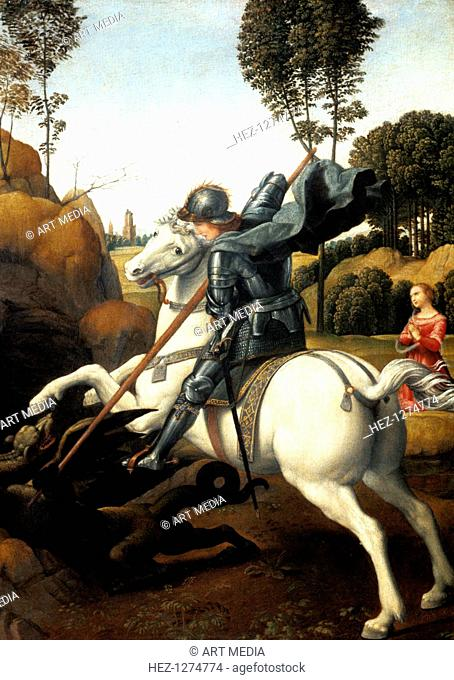 'Saint George and the Dragon', c1506. A Roman soldier of Christian faith, Saint George saved the daughter of a pagan king by subduing a dragon with his lance