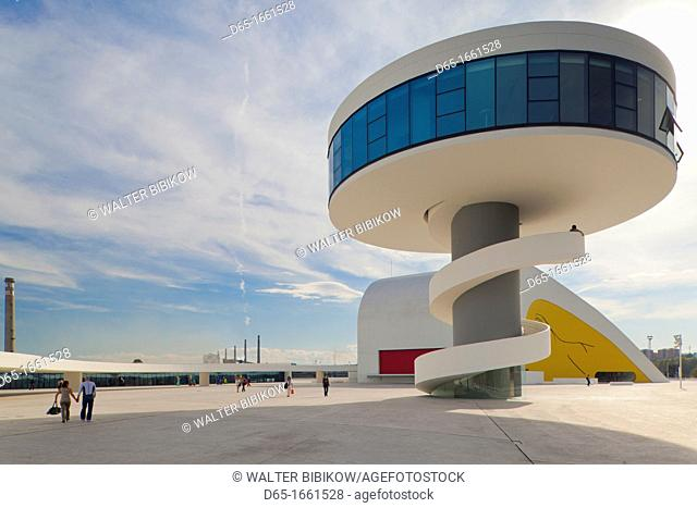 Spain, Asturias Region, Asturias Province, Aviles, Centro Niemeyer, arts center designed by Brazilian architect Oscar Niemeyer in formerly polluted industrial...