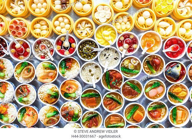 China, Hong Kong, Mong Kok, Ladies Market, Display of Souvenir Fridge Magnets of Chinese Food