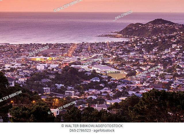 New Zealand, North Island, Wellington, elevated view of suburbs from Mt. Victoria, dawn