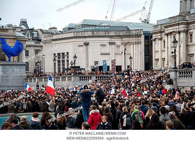 Thousands gather in Trafalgar Square in a show of solidarity with the Je Suis Charlie marches and rallies being held all over France today