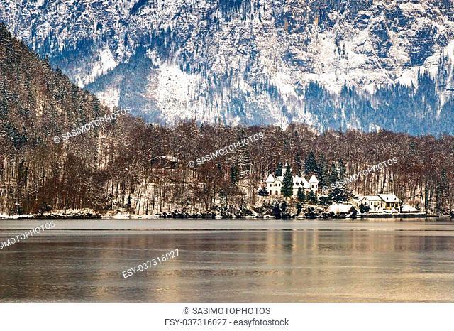 View of the Hallstaetter lake in Hallstatt, Upper Austria during the winter season