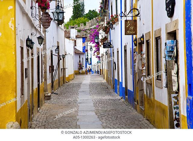 Portugal, Estremadura, Obidos. Alleyway in old town