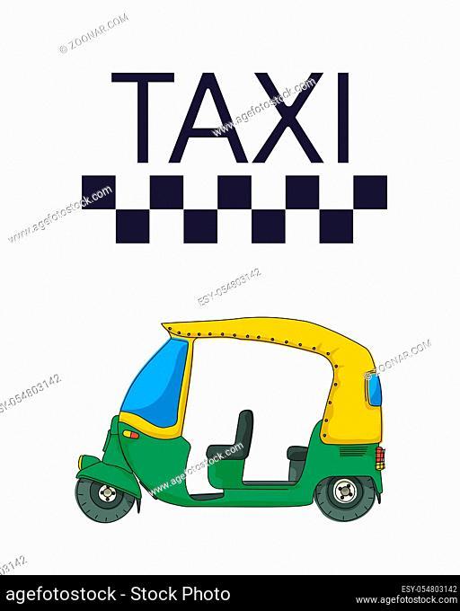 Indian tuktuk rickshaw taxi template over white background