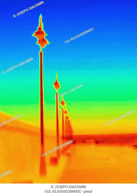 Thermal image of streetlights
