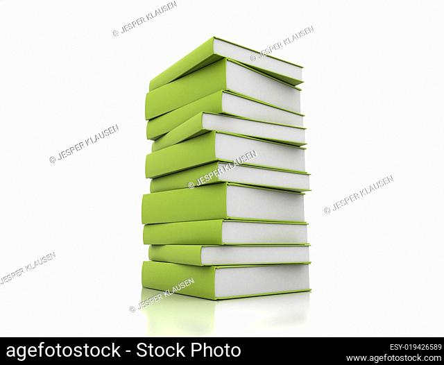 Books green on white background