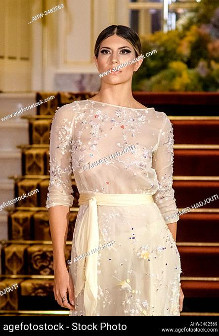 PARIS, FRANCE - FEBRUARY 28: A model walks the runway during the Fashion Week Studio show wearing the designs of RUARUA as part of Paris Fashion Week on...