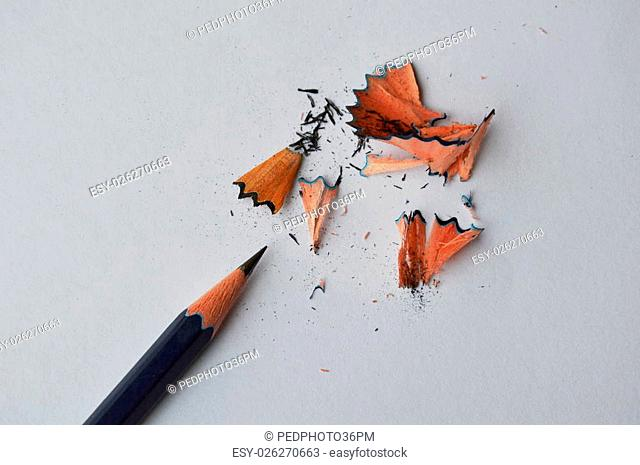 pencil shaving on white paper