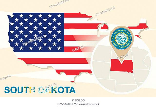 USA map with magnified South Dakota State. South Dakota flag and map