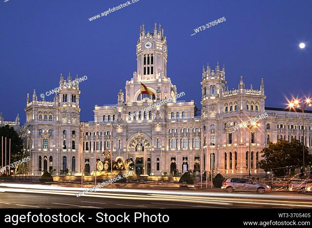 Madrid City Town Hall, Cibeles Palace, Neogothic style, in Cibeles square, MADRID, SPAIN, EUROPE