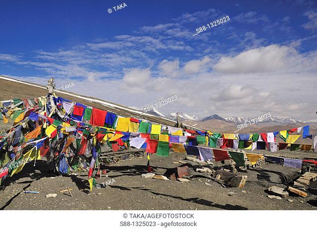 Tibetan prayer flags at Taglang La pass is 2nd highest pass in the world. Jammu and Kashmir, India