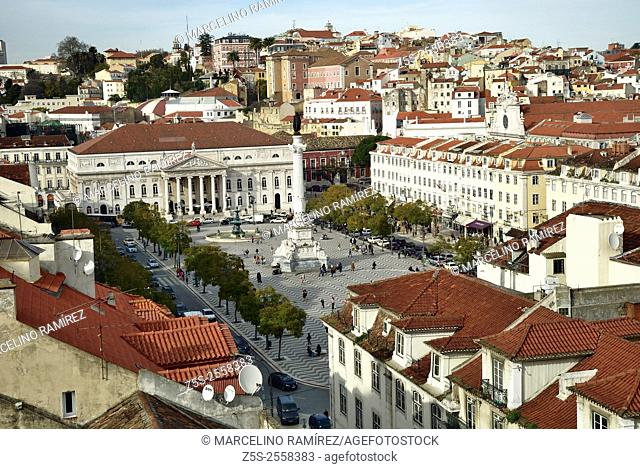 View of Rossio Square and Maria II Theatre, seen from Santa Justa elevador. Lisbon, Portugal. Europe