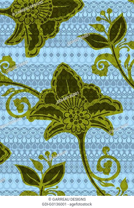 Tropical flower shape over tribal background