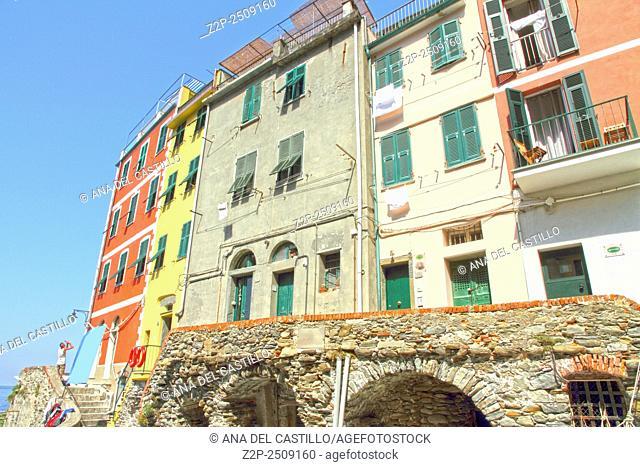 Riomaggiore village Ligurian sea in Cinque Terre La Spezia Italy