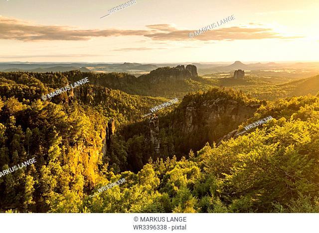 View over Carolafelsen Rocks at sunset, Elbsandstein Mountains, Saxony Switzerland National Park, Saxony, Germany, Europe