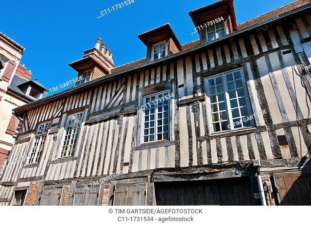 old historic building exteriors, Honfleur, Normandy, France