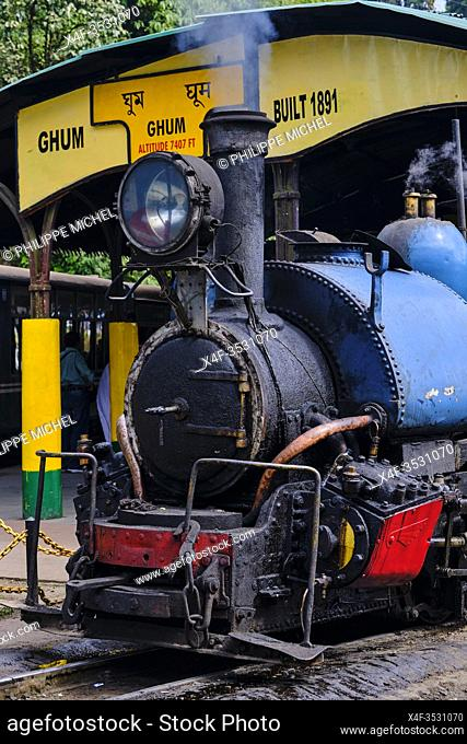 India, West Bengal, Darjeeling, Ghum train station for the toy train from Darjeeling Himalayan Railway, Unesco world Heritage