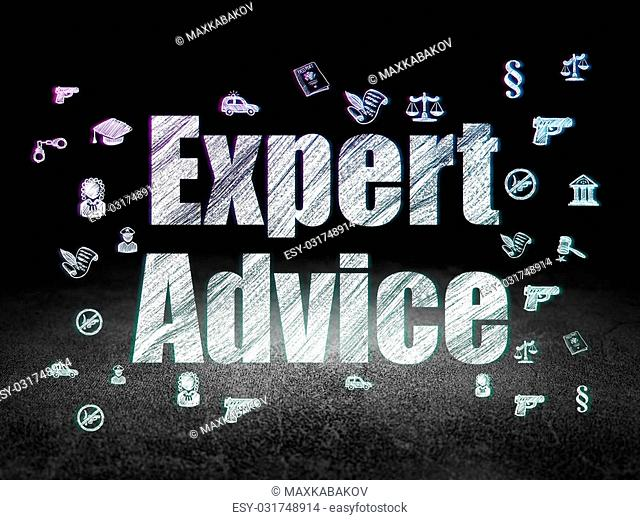 Law concept: Glowing text Expert Advice, Hand Drawn Law Icons in grunge dark room with Dirty Floor, black background, 3d render
