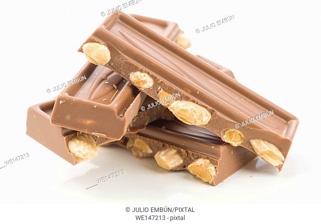 almond chocolate bars on white background