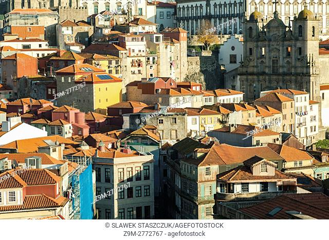 Sunny winter afternoon in Ribeira, Porto old town, Portugal