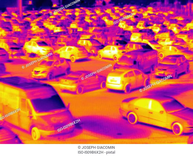 Thermal image of cars in car park