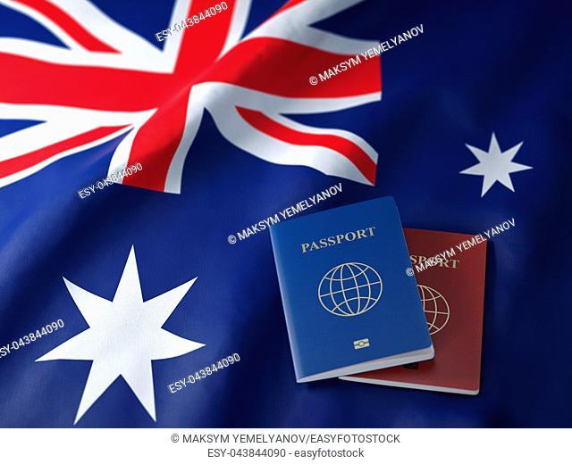 Travel, tousism or immigration in Australia concept. Different passports on australian flag. 3d illustration