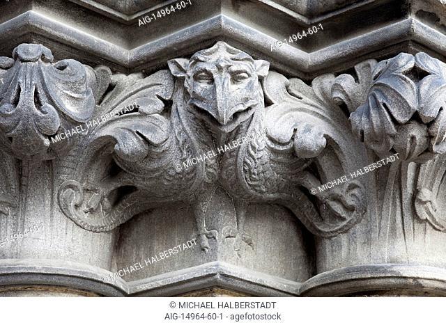 Gargoyle detail at St Giles' Cathedral, Edinburgh, Scotland, UK