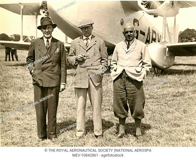 From left: Major Jack Stewart, Boulton & Paul sales manager; Dr J.D. North, chief engineer and Sqn Ldr C.A. Rea, test pilot