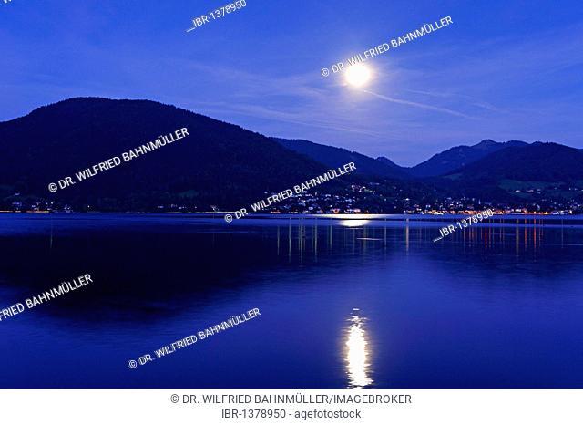 Rising moon above the Tegernsee lake, Upper Bavaria, Germany, Europe