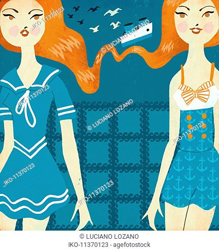 Twin young women wearing sailor suits at seaside as Gemini zodiac sign