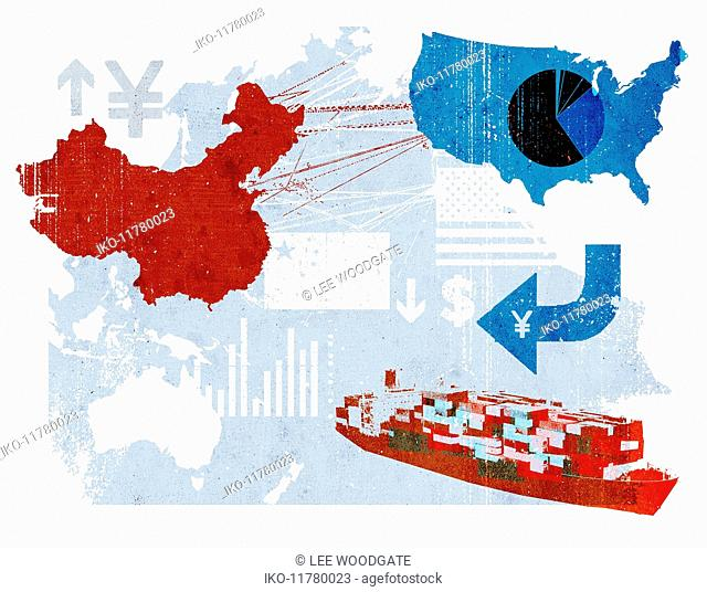 Trade connections between China and United States on map