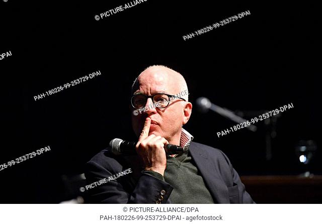 26 February 2018, Germany, Berlin: US-American author Michael Wolff presents his revealing book 'Fire and Fury' (Feuer und Zorn) at the Volksbuehne theatre