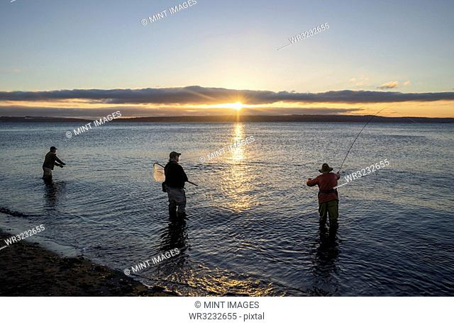 Two fly fishermen cast for searun coastal cutthroat trout and salmon at sunrise with their guide standing between them at the salt water beach at a beach on the...