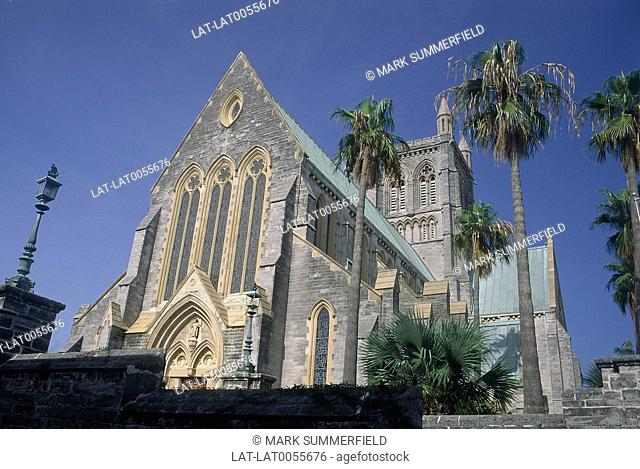 Cathedral of The Most Holy Trinity. Stained glass windows. Palm trees.ARCHIVED/WITHDRAWN