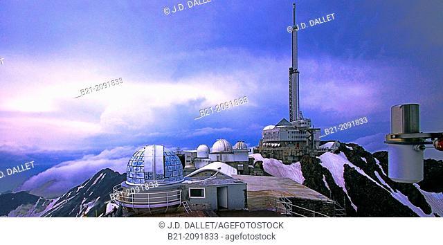 Pic du Midi de Bigorre astronomical observatories (2877m high), Hautes-Pyrenees, Midi-Pyrenees, France
