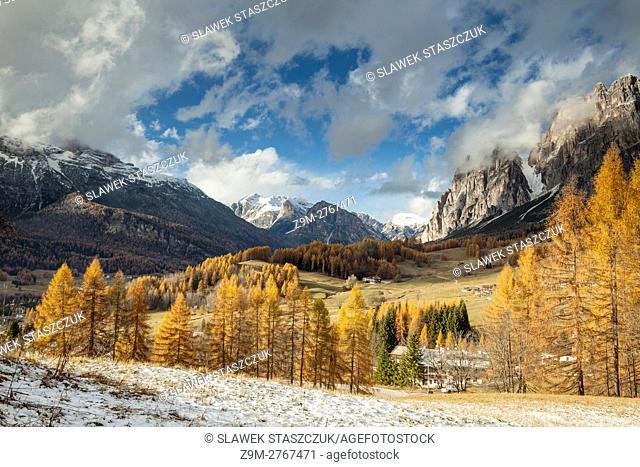 Early November snow in the Dolomites near Cortina d'Ampezzo, Italy